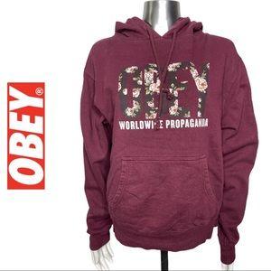 Obey Hoodie Worldwide Propaganda Hoodie Wine